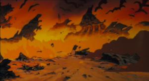 『風の谷のナウシカ』の船の墜落現場のシーン